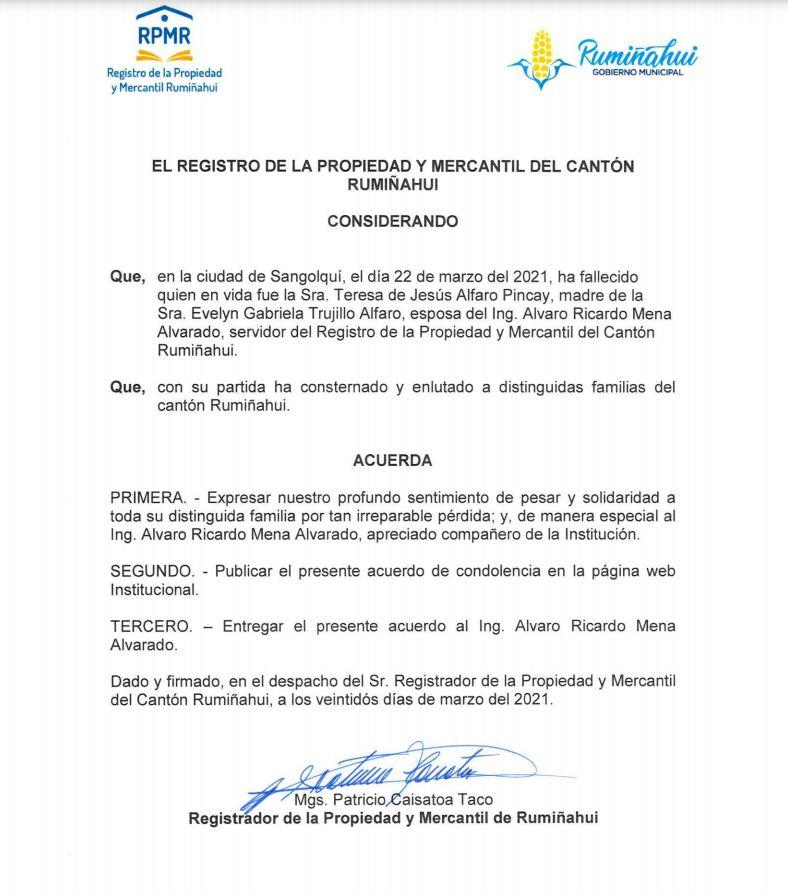 Acuerdo de Condolencias Alvarito